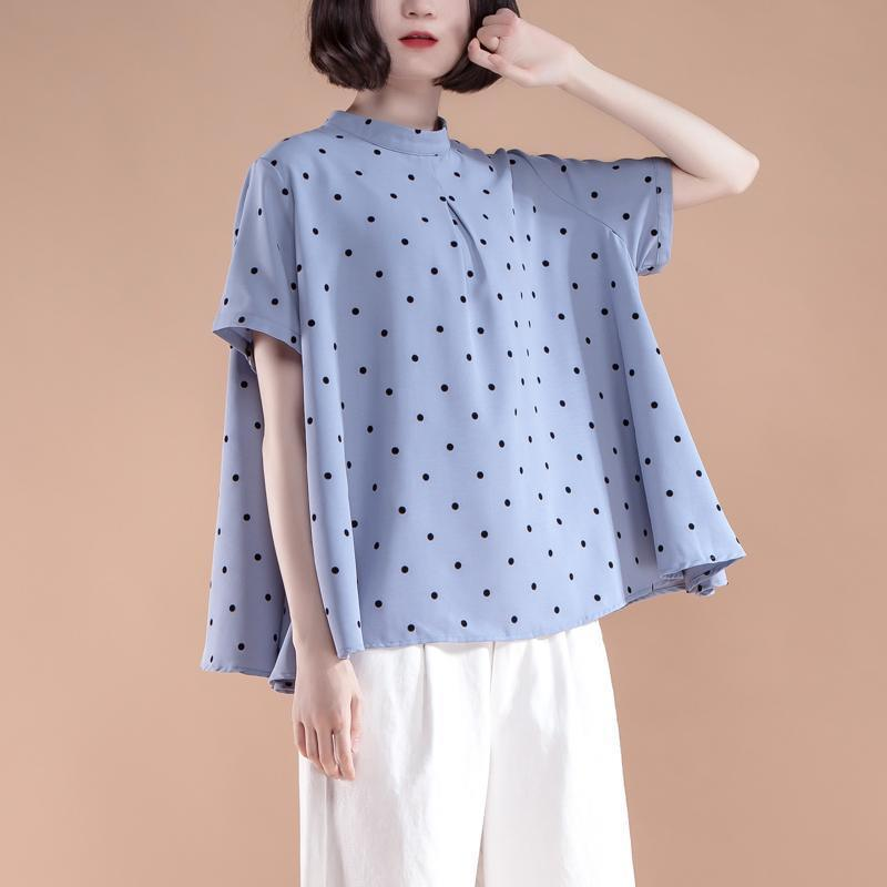 vintage cotton blended blouse plus size clothing Short Sleeve Summer Casual Dots Blue Tops