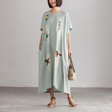 Load image into Gallery viewer, vintage cotton dress Loose fitting Summer Embroidery Casual Blue V neck Long Dress With Pockets