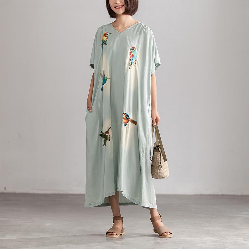 vintage cotton dress Loose fitting Summer Embroidery Casual Blue V neck Long Dress With Pockets
