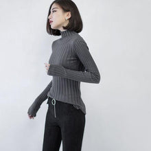 Load image into Gallery viewer, vintage dark gray sweater trendy plus size high neck pullover top quality side open sweaters
