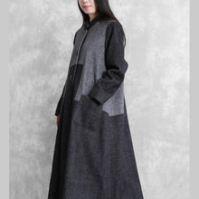 Load image into Gallery viewer, vintage dark gray woolen overcoat plus size long coat outwear stand collar patchwork