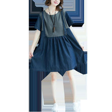 Load image into Gallery viewer, vintage denim blue natural cotton dress plus size clothing shirt dress New patchwork O neck short sleeve cotton clothing dress