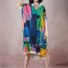 Load image into Gallery viewer, vintage floral long linen dress oversize v neck traveling dress boutique half sleeve side open dresses