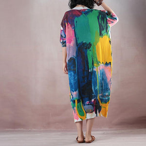 vintage floral long linen dress oversize v neck traveling dress boutique half sleeve side open dresses