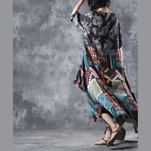 Load image into Gallery viewer, vintage floral silk dress casual o neck asymmetric silk dress