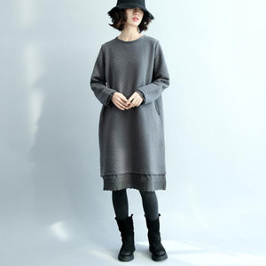 vintage gray  cotton dresses casual traveling clothing o neck boutique patchwork midi dress