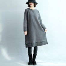 Laden Sie das Bild in den Galerie-Viewer, vintage gray  cotton dresses casual traveling clothing o neck boutique patchwork midi dress