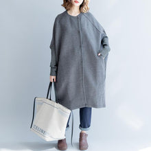Load image into Gallery viewer, vintage gray Winter coat casual o neck cardigans Fashion batwing sleeve wool jackets