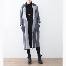 Load image into Gallery viewer, vintage gray coat for woman casual maxi coat Notched outwear patchwork pockets long coats
