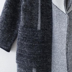 vintage gray coat for woman casual maxi coat Notched outwear patchwork pockets long coats