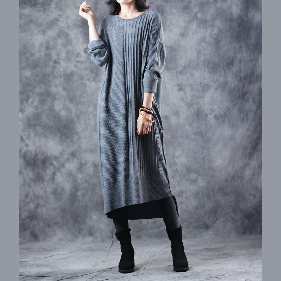 vintage gray knit dresses Loose fitting O neck long knit sweaters casual asymmetric winter dresses