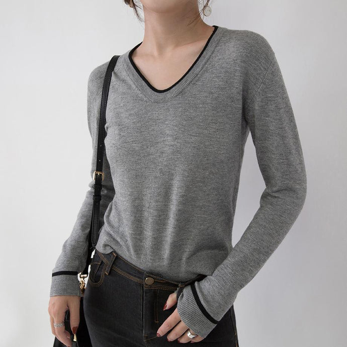 vintage gray knit sweaters oversize V neck knitted blouses Elegant slim side open sweaters