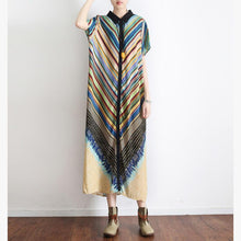 Load image into Gallery viewer, vintage green striped summer batwing sleeve long dress