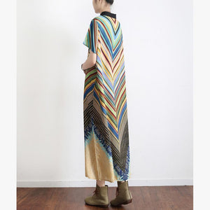 vintage green striped summer batwing sleeve long dress