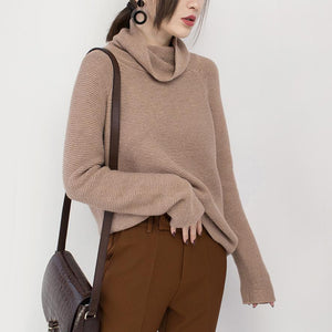 vintage khaki cozy sweater oversize high neck knitted tops Elegant baggy blouse