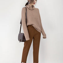 Load image into Gallery viewer, vintage khaki cozy sweater oversize high neck knitted tops Elegant baggy blouse
