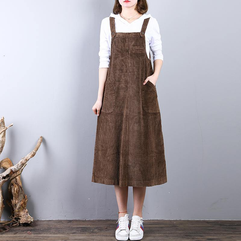 vintage khaki natural corduroy dress  casual sleeveless clothing dresses casual caftans