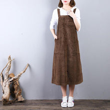 Load image into Gallery viewer, vintage khaki natural corduroy dress  casual sleeveless clothing dresses casual caftans