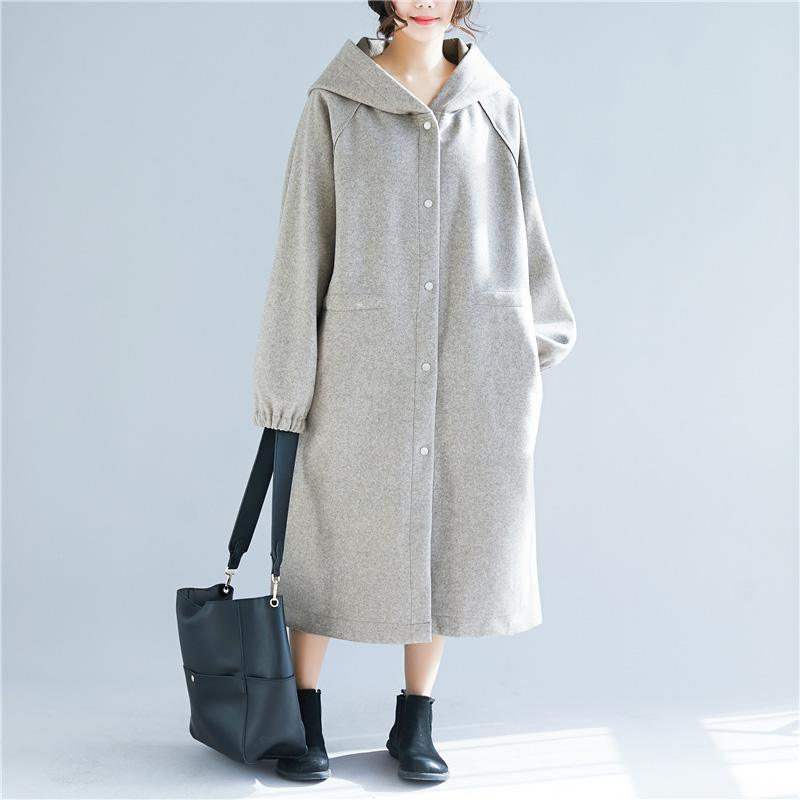 vintage light gray Wool jackets casual long hooded coats