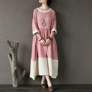 vintage long cotton dresses oversized Cotton Pink Loose Round Neck Long Women Dress