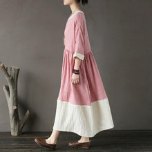 Load image into Gallery viewer, vintage long cotton dresses oversized Cotton Pink Loose Round Neck Long Women Dress