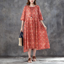 Load image into Gallery viewer, vintage long linen dress plus size Women Linen Printed Pleated Pockets 12 Sleeve Dress
