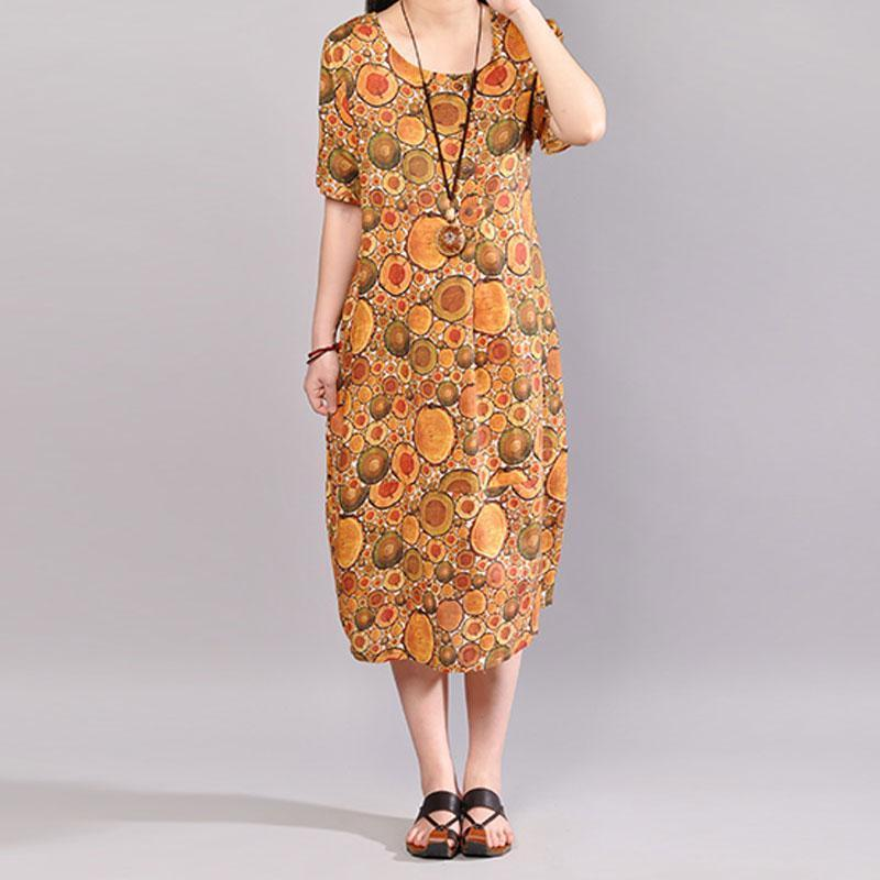 vintage natural cotton dress oversized Women Printed Summer Short Sleeve Pullover Dress