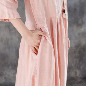 Vintage Natural Linen Dress Oversize Linen Round Neck Three Quarter Sleeve Pink Pleated Dress ( Limited Stock)