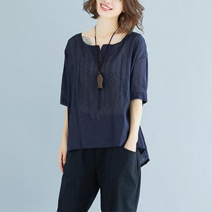 vintage natural linen t shirt oversize Summer High-low Hem Women Short Sleeve Loose Navy Blue Blouse
