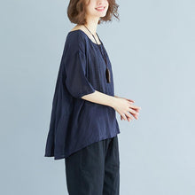 Laden Sie das Bild in den Galerie-Viewer, vintage natural linen t shirt oversize Summer High-low Hem Women Short Sleeve Loose Navy Blue Blouse