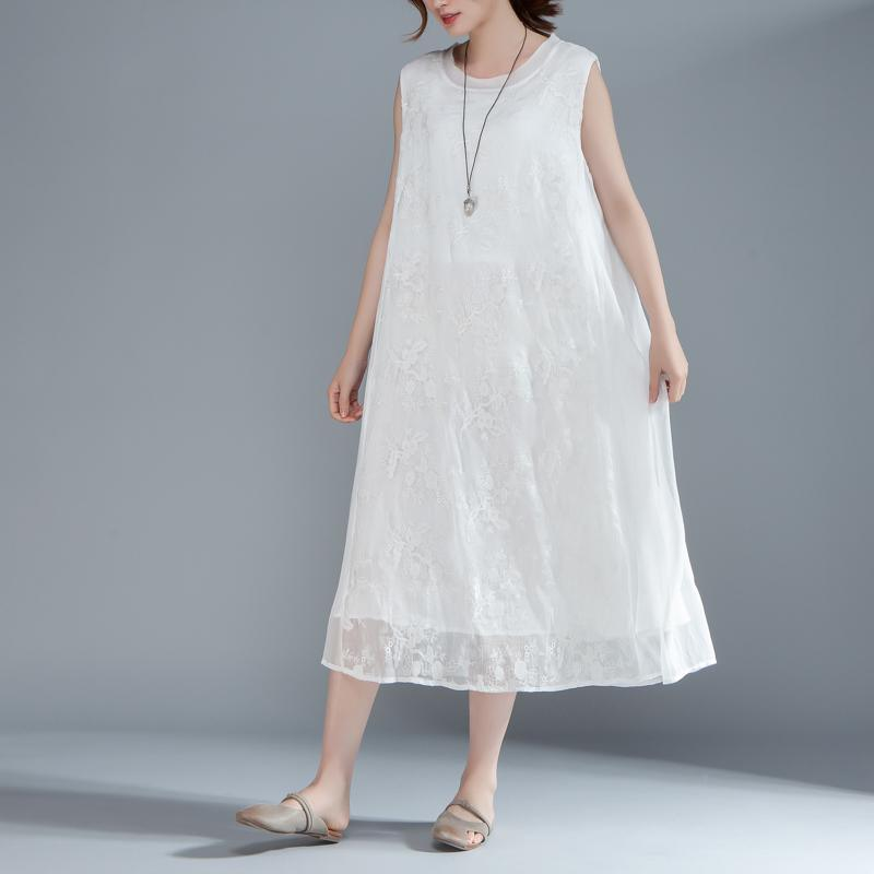 vintage natural silk blended dress oversized Women Embroidered Pullovers Sleeveless White Dress