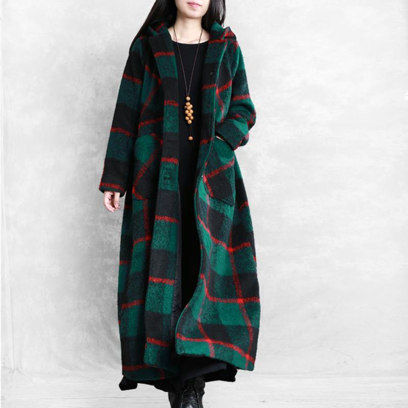 vintage plus size Winter coat women coats green plaid Notched Button Woolen Coat Women