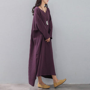 vintage purple natural dress plus size v neck fall long sleeve pockets autumn dress