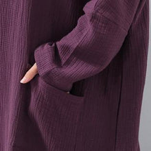Load image into Gallery viewer, vintage purple natural dress plus size v neck fall long sleeve pockets autumn dress