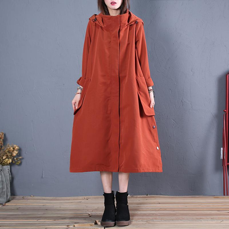 vintage red Coat Women casual fall coat hooded