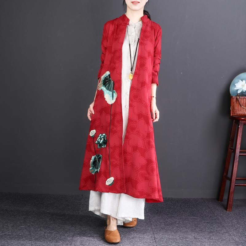 vintage red embroidery cotton linen maxi coat trendy plus size Stand top quality long sleeve trench coats