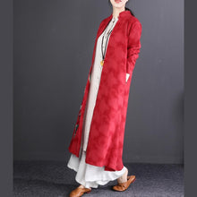 Load image into Gallery viewer, vintage red embroidery cotton linen maxi coat trendy plus size Stand top quality long sleeve trench coats