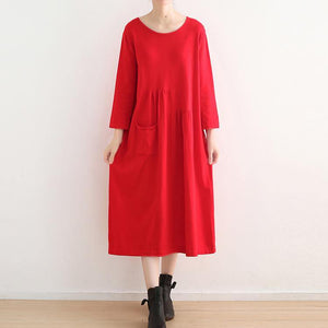 vintage red knit dresses plus size o neck winter dress vintage pockets long knit sweaters