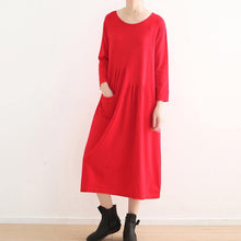 Load image into Gallery viewer, vintage red knit dresses plus size o neck winter dress vintage pockets long knit sweaters