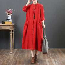Load image into Gallery viewer, vintage red long cotton dress trendy plus size stand collar traveling shirt dress women big pockets shirt clothes