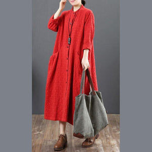 vintage red long cotton dress trendy plus size stand collar traveling shirt dress women big pockets shirt clothes