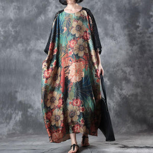 vintage silk blended caftans plus size Loose Flower Printed Splicing Lace Summer Long Dress