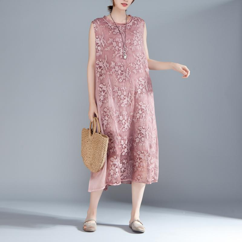 vintage silk blended maxi dress plus size Women Embroidered Pullovers Sleeveless Pink Dress