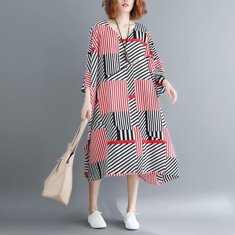 vintage striped cotton blended dress trendy plus size v neck baggy dresses gown New batwing Sleeve asymmetric dresses
