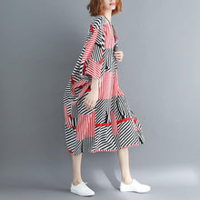 Load image into Gallery viewer, vintage striped cotton blended dress trendy plus size v neck baggy dresses gown New batwing Sleeve asymmetric dresses