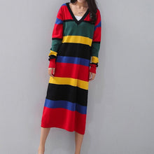 Load image into Gallery viewer, vintage striped plus size V neck gown boutique long sleeve slim caftans