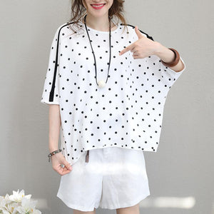 vintage white dotted natural silk cotton t shirt oversize  traveling blouse women O neck bat sleeve silk cotton clothing t shirt