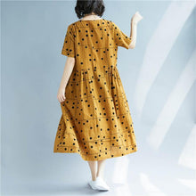 Load image into Gallery viewer, vintage yellow dotted cotton linen dress plus size O neck baggy dresses cotton linen clothing dress Elegant short sleeve patchwork dresses