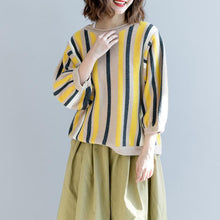 Load image into Gallery viewer, vintage yellow striped  knit sweaters plus size clothing o neck knitted blouses top quality bracelet sleeved winter t shirt