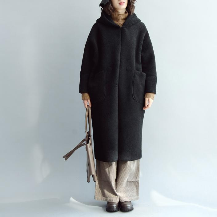 vintage black Wool Coat oversized hooded maxi coat vintage coats